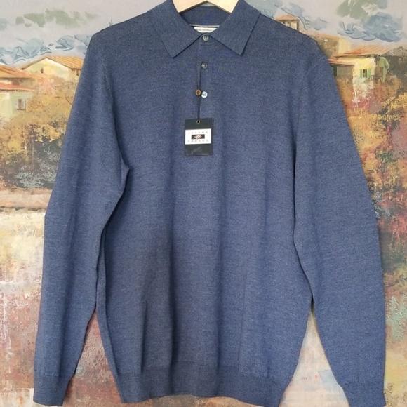 0e56b21126 Joseph Abboud Slate Polo Collar Merino Wool Sweate